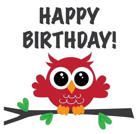 fijne verjaardag een lieve kleine rode uil Stock Illustratie