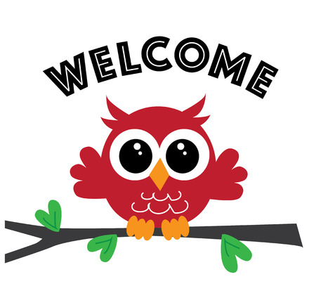 a sweet little red owl welcome Illustration