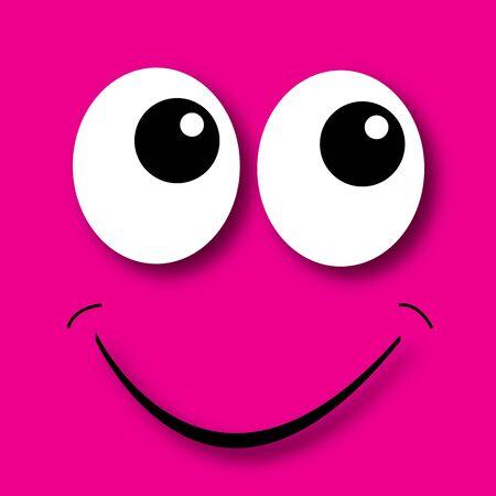 blij gezicht roze achtergrond