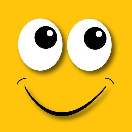 Gelukkige gezicht gele achtergrond Stock Illustratie