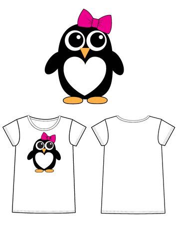 een zoete pinguïn afdruk Stock Illustratie