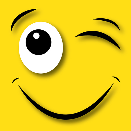 flirty: flirty blinking eye happy face Stock Photo