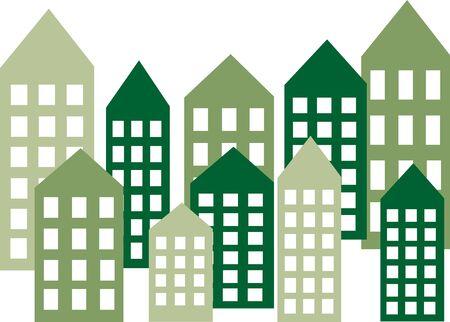 Groene stad skyline header of banner Stock Illustratie
