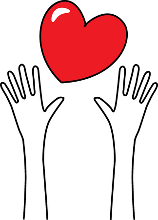 reaching hands love header or banner Illustration