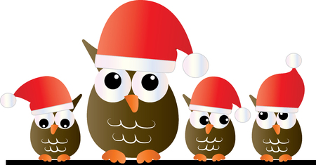 merry christmas cute owls header or banner Stock Photo