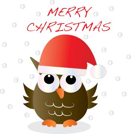 vrolijk kerstfeest een lieve steenuil Stockfoto