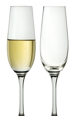 glass half full: glass of champagne