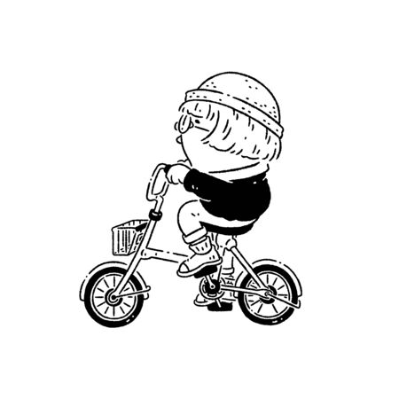 Boy riding a bicycle and singing leisurely