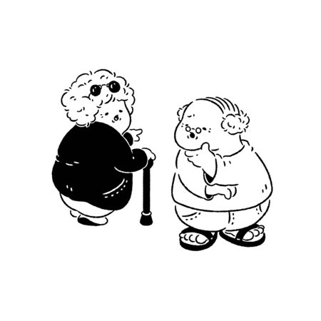 Old couple discussing where to go