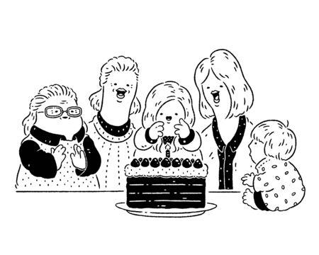 Family celebrating birthday 版權商用圖片