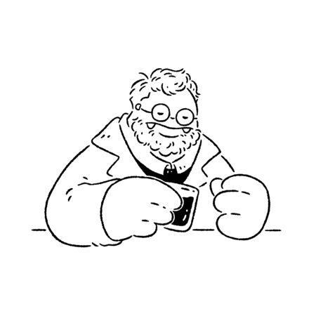 Man in suit drinking wine alone
