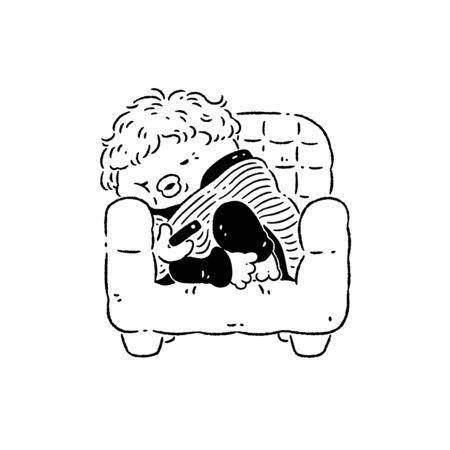 Woman falling asleep while watching tv 版權商用圖片