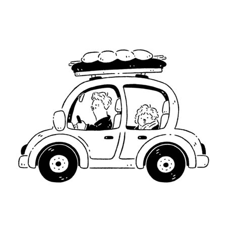 Couple driving a car to travel