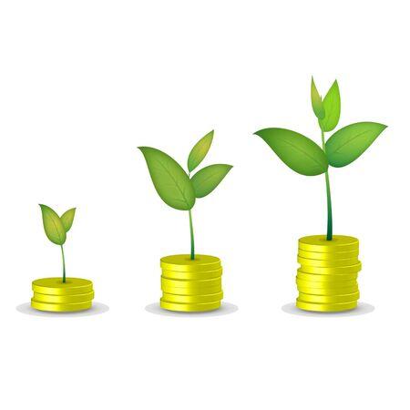 Coin tree grow Ilustrace