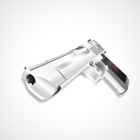 Silver pistol handgun Stock Vector - 20962360