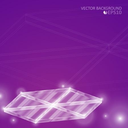Purple hexagon glass background