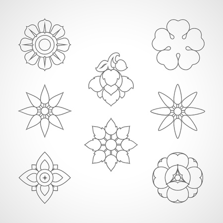 Set Thailand flowers symbol design Stock Vector - 20962366