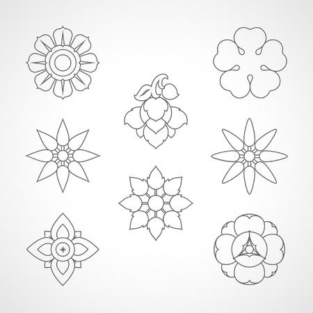 Set Thailand flowers symbol design Ilustrace