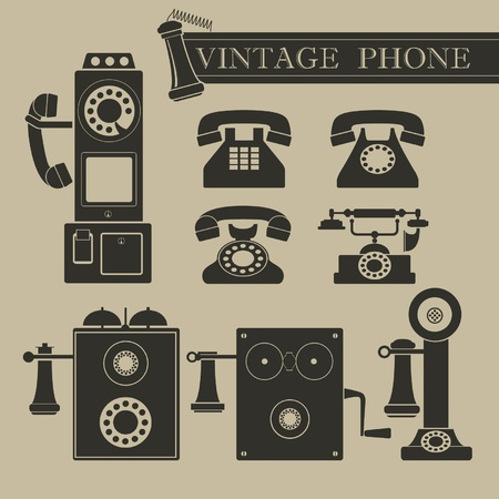 antique telephone: Vintage phone Illustration