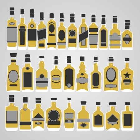 whiskey bottle: Botella de whisky conjunto de vectores Vectores