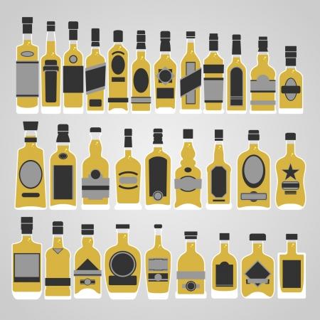 Whiskey bottle set vector