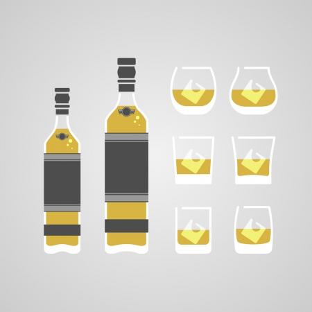 whiskey bottle: Whiskey bottle set vector