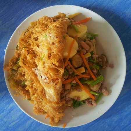 Tofu fried with egg thaifood Stock Photo