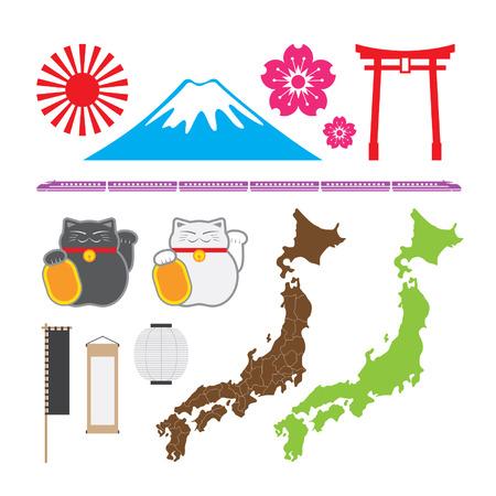 Japan symbol set Illustration