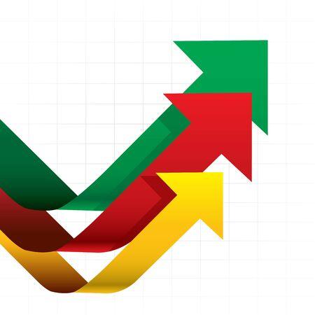Arrows graph Weißem Hintergrund