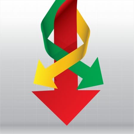 Arrows Down way in the graph Vector