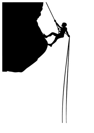 Mountain climber on rope silhouette illustration.