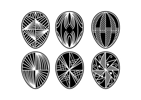Illustration of a set of easter eggs silhouette.