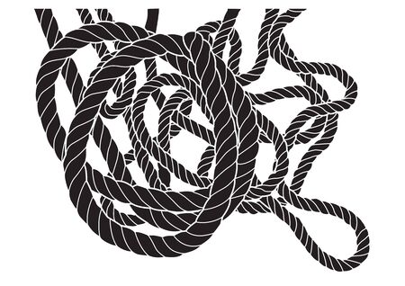 Vector illustration of tangled rope silhouette isolated.