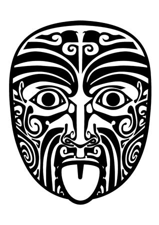 Vector illustration of maori mask isolated.