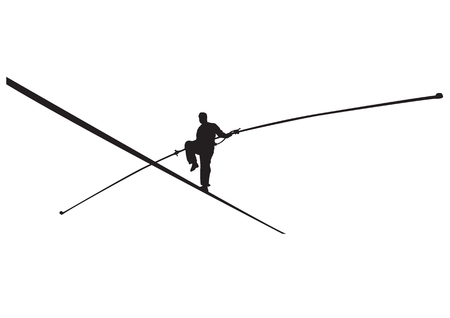 Vector illustration of a rope walker with stick silhouette. Vettoriali