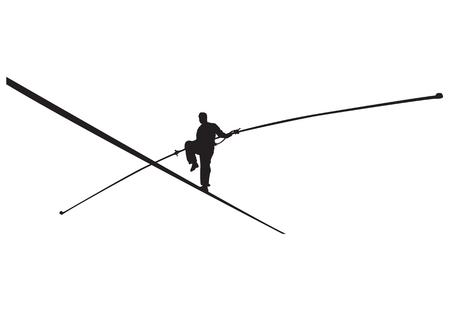 Vector l'illustrazione di un camminatore della corda con la siluetta del bastone. Archivio Fotografico - 92641539