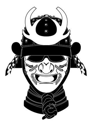 Vector illustration of ancient japan head amor. Vectores