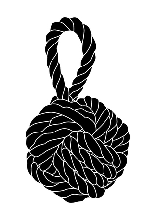 Vector illustration of monkey fist knot silhouette isolated.