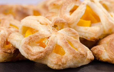 lose up: puff pastry with peach, chomemade cakes, lose up