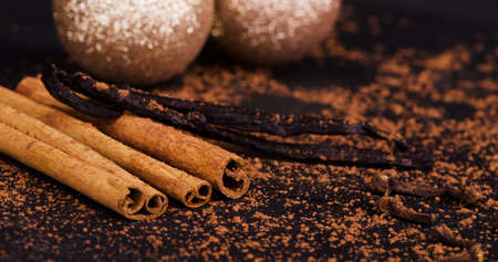 sprinkled: cinnamon sticks, vanilla, sprinkled with cocoa, background aromatic spices