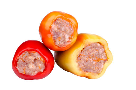 farci: stuffed peppers, isolated on white, raw, ready for cooking