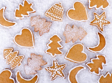 gingerbread cookies: Christmas cookies, gingerbread cookies on white background Stock Photo