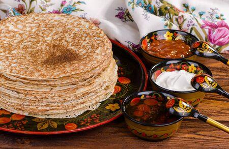 blini: Shrovetide, Russian traditional pancakes - blini, homemade cakes Stock Photo