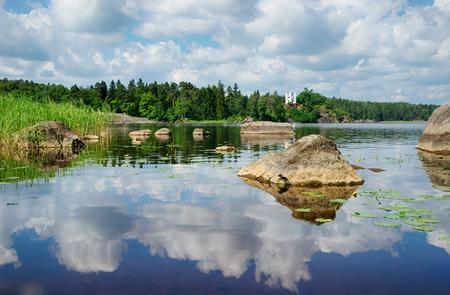 Beautiful landscape with chapel Ludwigsburg on the island Ludwigstein, Monrepos Park, Vyborg, Russia.