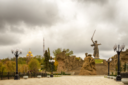 Volgograd. Historical memorial complex Mamayev Kurgan. Stock Photo