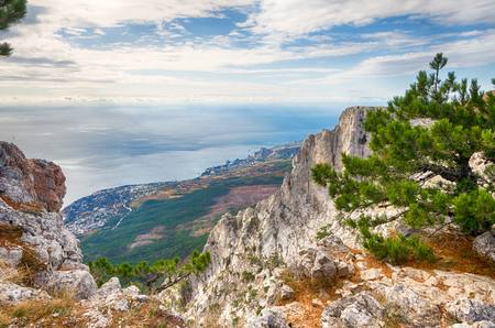 Mountain landscape, view from Ai-Petri on the coast and the city near the sea
