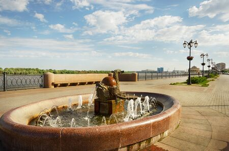 Astrakhan, Russia: Fountain Fish on the embankment of the Volga River.
