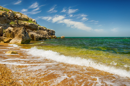 Beautiful scenery, the bay of the Kazantip Nature Reserve on the Sea of Azov