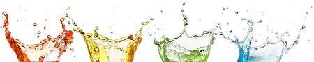 set of rainbow liquid splash isolated on white background 免版税图像