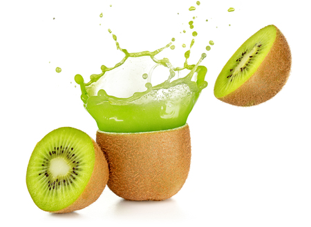 juice exploding out of a kiwi fruit isolated on white Standard-Bild